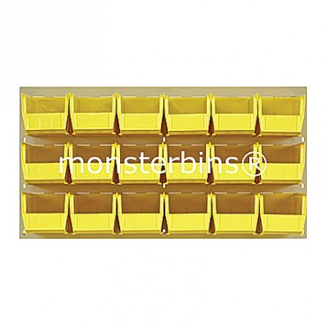 Beige Louvered Panel With 18 QUS230 Bins - Yellow