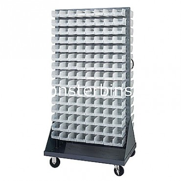 Mobile Double Sided Rack Unit with 240 QUS220 Clear Bins