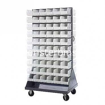 Mobile Double Sided Rack Unit with 120 QUS230 Clear Bins