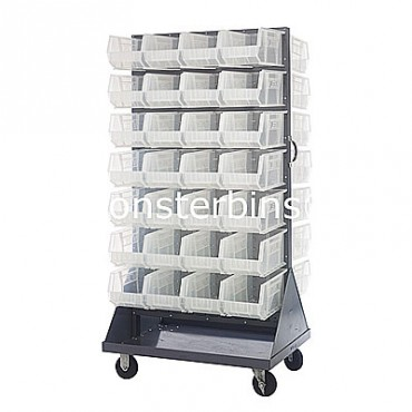 Mobile Double Sided Rack Unit with 56 QUS240 Clear Bins