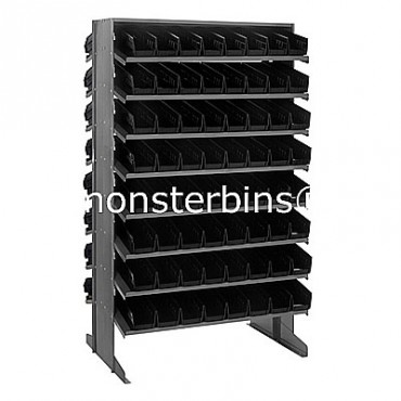 Double Sided Sloped Pick Rack - 16 Shelves - 128 Shelf Bins (12x4x4)