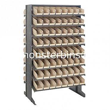 Double Sided Sloped Pick Rack - 16 Shelves - 128 Shelf Bins (12x4x4)