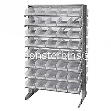 Double Sided Sloped Pick Rack - 16 Shelves - 80 Clear Shelf Bins (12x6x4)