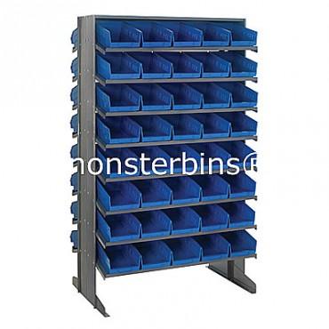 Double Sided Sloped Pick Rack - 16 Shelves - 80 Shelf Bins (12x6x4)