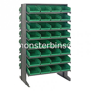 Double Sided Sloped Pick Rack - 16 Shelves - 64 Shelf Bins (12x8x4)