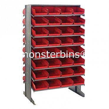 Double Sided Sloped Pick Rack - 16 Shelves - 64 Shelf Bins (12x8x4)