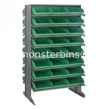 Double Sided Sloped Pick Rack - 16 Shelves - 48 Shelf Bins (12x11x4)
