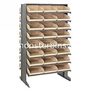 Double Sided Sloped Pick Rack - 16 Shelves - 48 Shelf Bins (12x11x4)