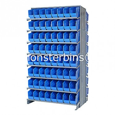 Double Sided Sloped Pick Rack - 16 Shelves - 128 Shelf Bins (12x4x6)