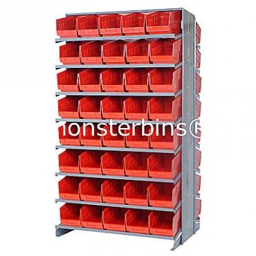 Double Sided Sloped Pick Rack - 16 Shelves - 80 Shelf Bins (12x6x6)