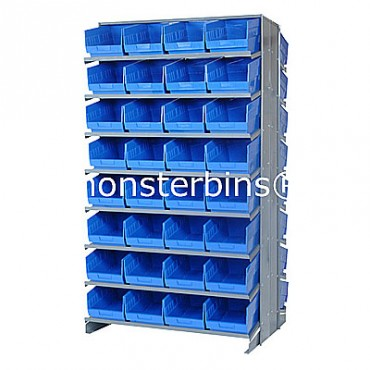 Double Sided Sloped Pick Rack - 16 Shelves - 64 Shelf Bins (12x8x6)