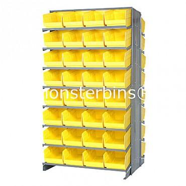 Double Sided Sloped Pick Rack - 16 Shelves - 64 Shelf Bins (12x8x6)