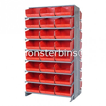 Double Sided Sloped Pick Rack - 16 Shelves - 48 Shelf Bins (12x11x6)