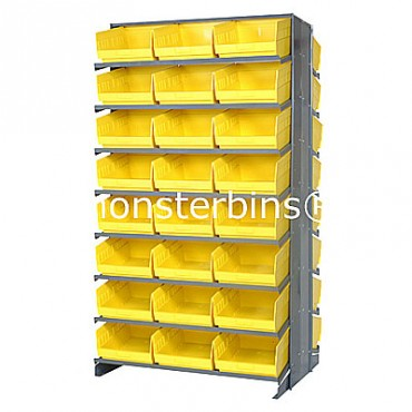 Double Sided Sloped Pick Rack - 16 Shelves - 48 Shelf Bins (12x11x6)