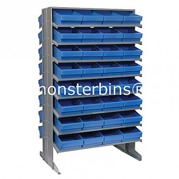 Double Sided Sloped Pick Rack - 16 Shelves - 64 QED701