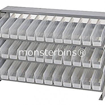 Bench Rack - 3 Shelves - 36 Clear Shelf Bins (12x3x4)
