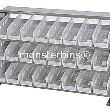 Bench Rack - 3 Shelves - 24 Clear Shelf Bins (12x4x4)