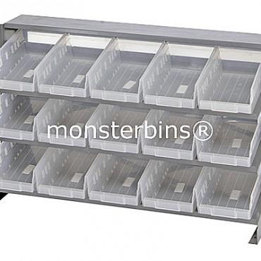 Bench Rack - 3 Shelves - 15 Clear Shelf Bins (12x6x4)