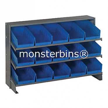 Bench Rack - 3 Shelves - 15 Shelf Bins (12x6x4)