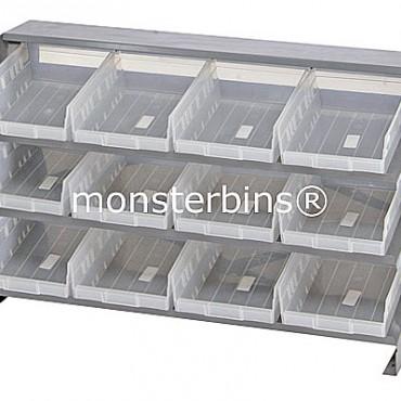 Bench Rack - 3 Shelves - 12 Clear Shelf Bins (12x8x4)