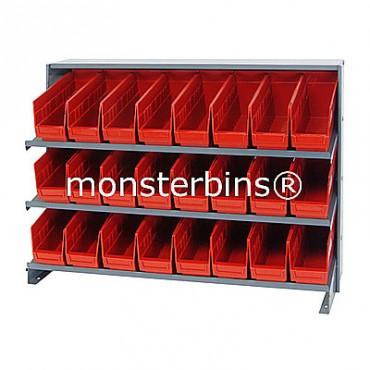 Bench Rack - 3 Shelves - 24 Shelf Bins (12x4x6)