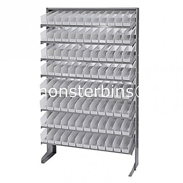 Single Sided Sloped Pick Rack - 8 Shelves - 96 Clear Shelf Bins (12x3x4)