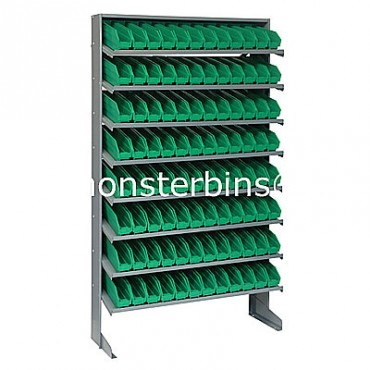 Single Sided Sloped Pick Rack - 8 Shelves - 96 Shelf Bins (12x3x4)