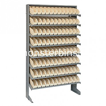 Single Sided Sloped Pick Rack - 8 Shelves - 96 Shelf Bins (12x3x4)
