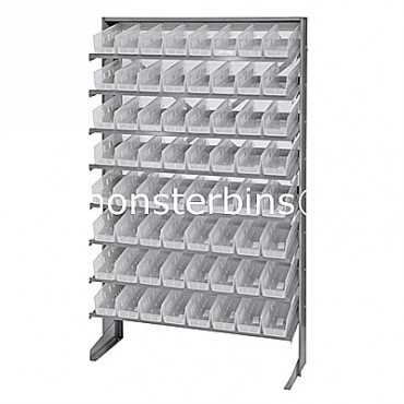 Single Sided Sloped Pick Rack - 8 Shelves - 64 Clear Shelf Bins (12x4x4)