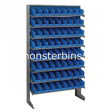 Single Sided Sloped Pick Rack - 8 Shelves - 64 Shelf Bins (12x4x4)
