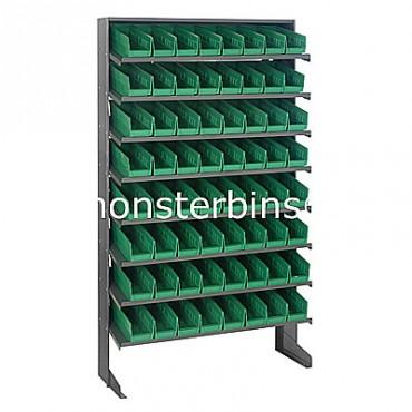 Single Sided Sloped Pick Rack - 8 Shelves - 64 Shelf Bins (12x4x4)
