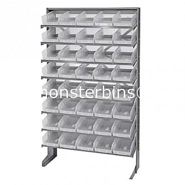 Single Sided Sloped Pick Rack - 8 Shelves - 40 Clear Shelf Bins (12x6x4)