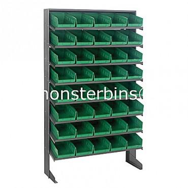 Single Sided Sloped Pick Rack - 8 Shelves - 40 Shelf Bins (12x6x4)