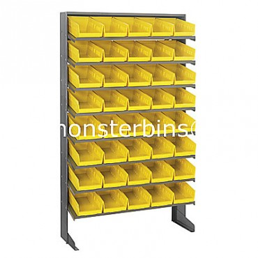 Single Sided Sloped Pick Rack - 8 Shelves - 40 Shelf Bins (12x6x4)