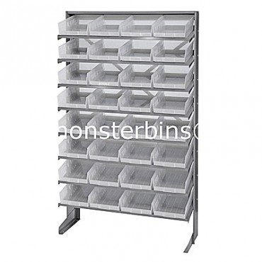 Single Sided Sloped Pick Rack - 8 Shelves - 32 Clear Shelf Bins (12x8x4)