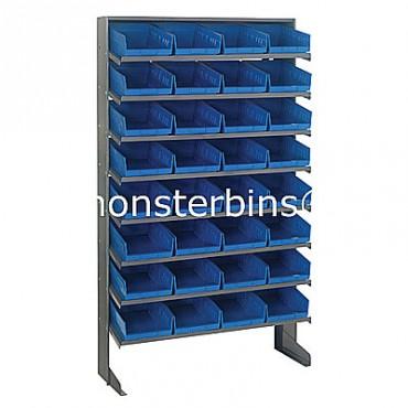 Single Sided Sloped Pick Rack - 8 Shelves - 32 Shelf Bins (12x8x4)