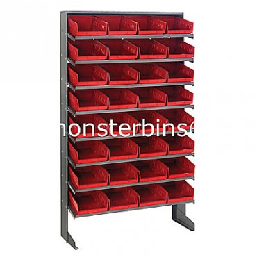 Single Sided Sloped Pick Rack - 8 Shelves - 32 Shelf Bins (12x8x4)