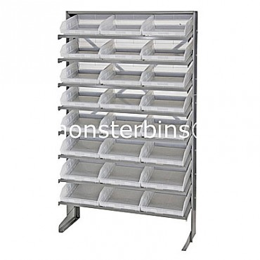Single Sided Sloped Pick Rack - 8 Shelves - 24 Clear Shelf Bins (12x11x4)