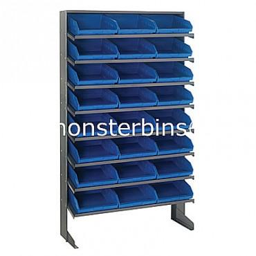 Single Sided Sloped Pick Rack - 8 Shelves - 24 Shelf Bins (12x11x4)