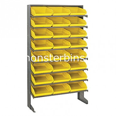 Single Sided Sloped Pick Rack - 8 Shelves - 24 Shelf Bins (12x11x4)