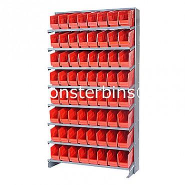 Single Sided Sloped Pick Rack - 8 Shelves - 64 Shelf Bins (12x4x6)