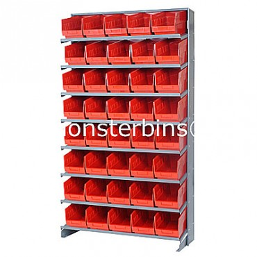 Single Sided Sloped Pick Rack - 8 Shelves - 40 Shelf Bins (12x6x6)