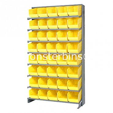 Single Sided Sloped Pick Rack - 8 Shelves - 40 Shelf Bins (12x6x6)