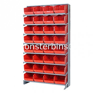 Single Sided Sloped Pick Rack - 8 Shelves - 32 Shelf Bins (12x8x6)