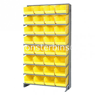 Single Sided Sloped Pick Rack - 8 Shelves - 32 Shelf Bins (12x8x6)