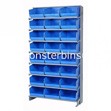 Single Sided Sloped Pick Rack - 8 Shelves - 24 Shelf Bins (12x11x6)