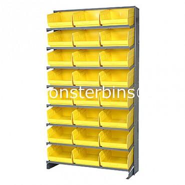 Single Sided Sloped Pick Rack - 8 Shelves - 24 Shelf Bins (12x11x6)