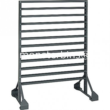 Double sided 12 rail stand for hanging plastic bins