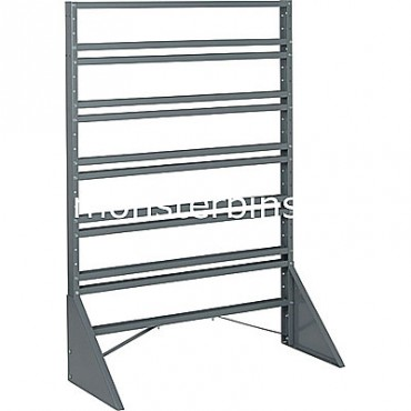 Single sided 12 rail stand for hanging plastic bins