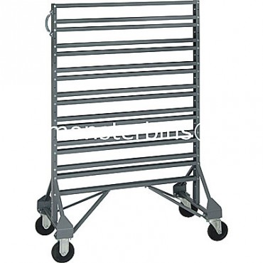 Double sided 16 rail cart for hanging plastic bins